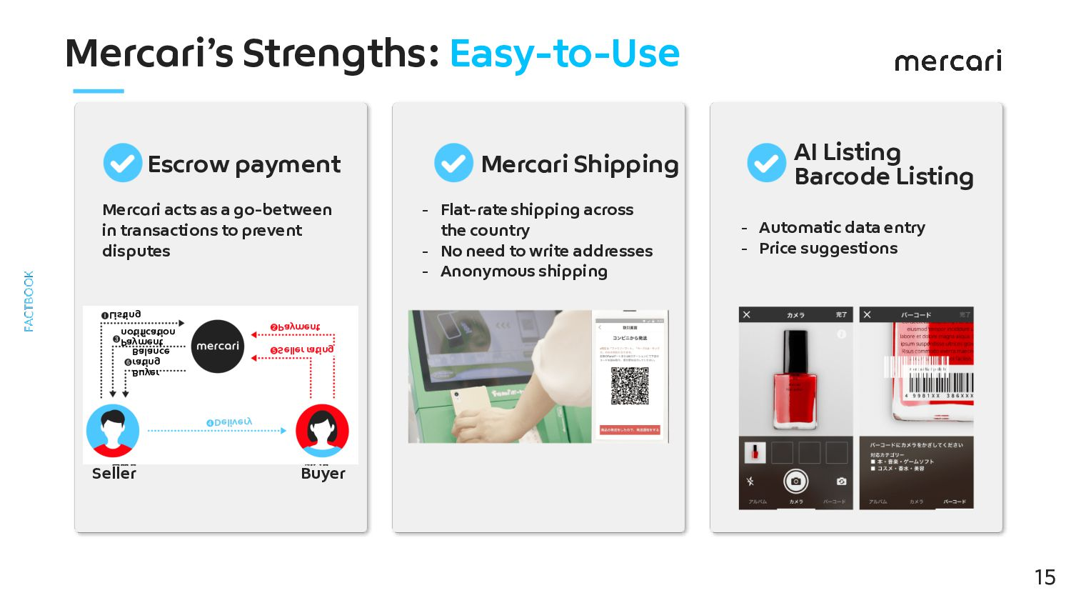 Mercari's Strengths: Easy-to-Use 15 Escrow pay...