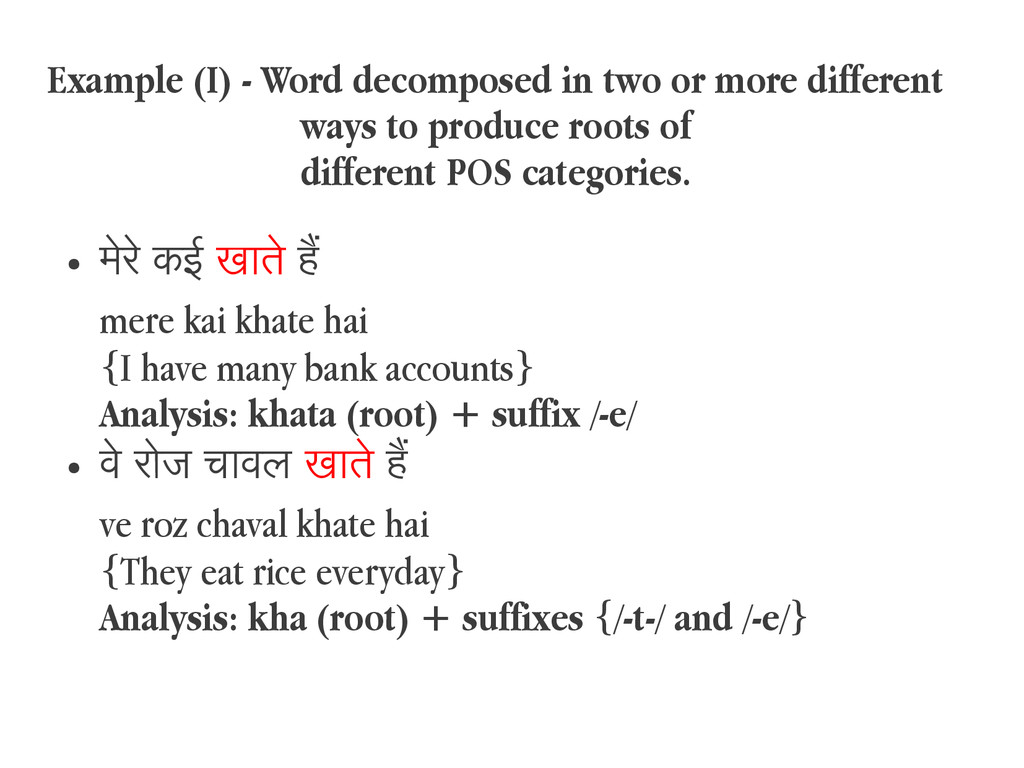 Example (I) - Word decomposed in two or more di...
