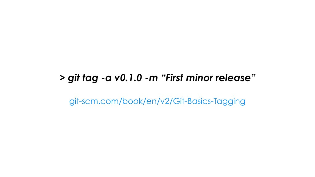 "> git tag -a v0.1.0 -m ""First minor release"" gi..."
