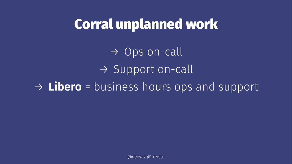Corral unplanned work → Ops on-call → Support o...