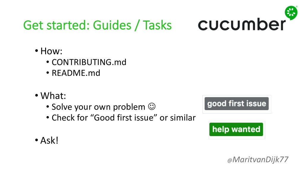 Get started: Guides / Tasks • How: • CONTRIBUTI...