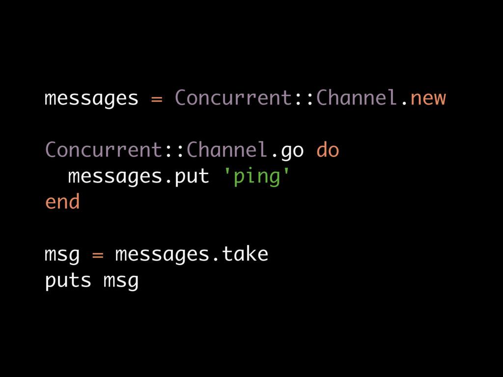 messages = Concurrent::Channel.new Concurrent::...