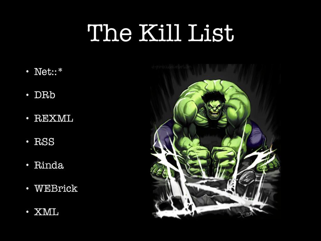 The Kill List • Net::* • DRb • REXML • RSS • Ri...
