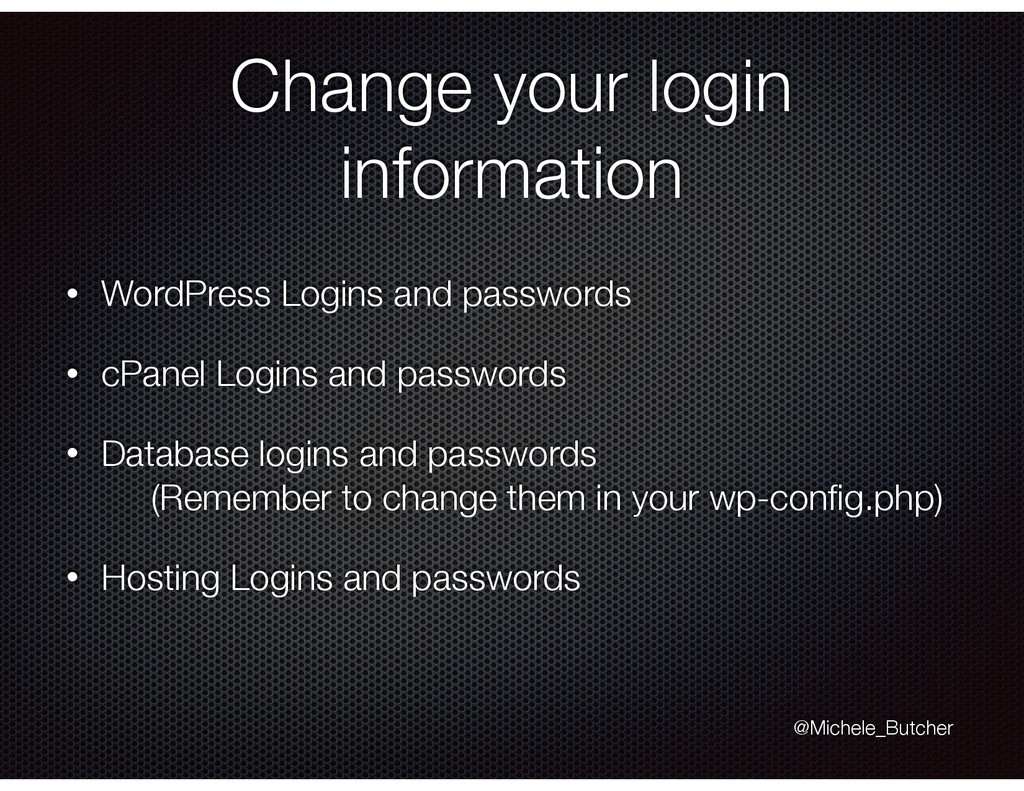 Change your login information • WordPress Login...