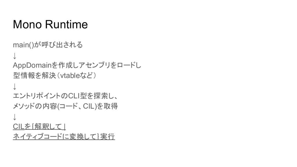Mono Runtime main()が呼び出される ↓ AppDomainを作成しアセンブリ...