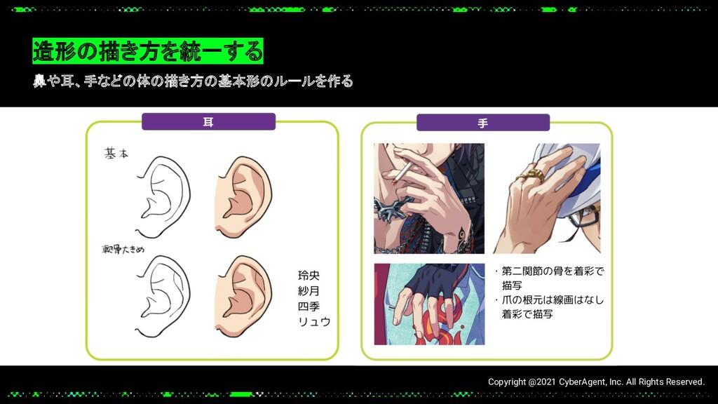 造形の描き方を統一する 鼻や耳、手などの体の描き方の基本形のルールを作る Copyright ...
