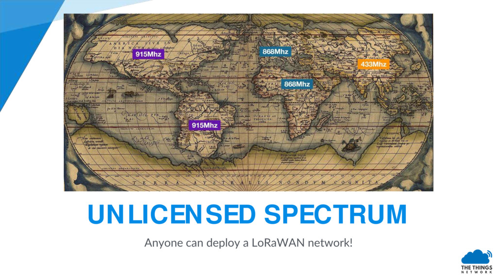 UNLICENSED SPECTRUM Anyone can deploy a LoRaWAN...