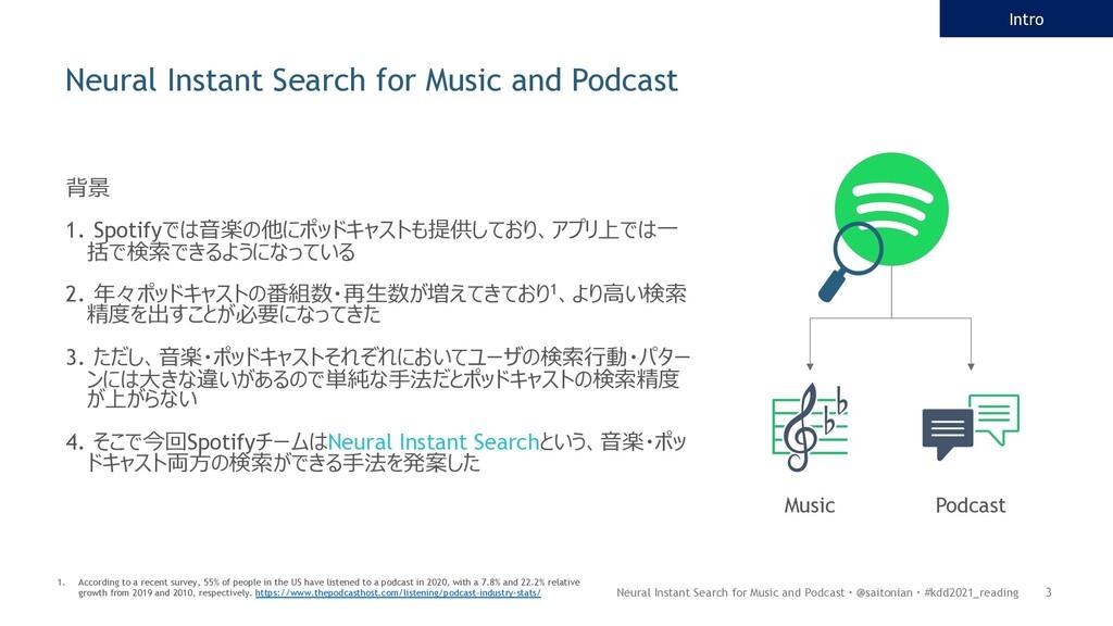 背景 1. Spotifyでは⾳楽の他にポッドキャストも提供しており、アプリ上では⼀ 括で検索...