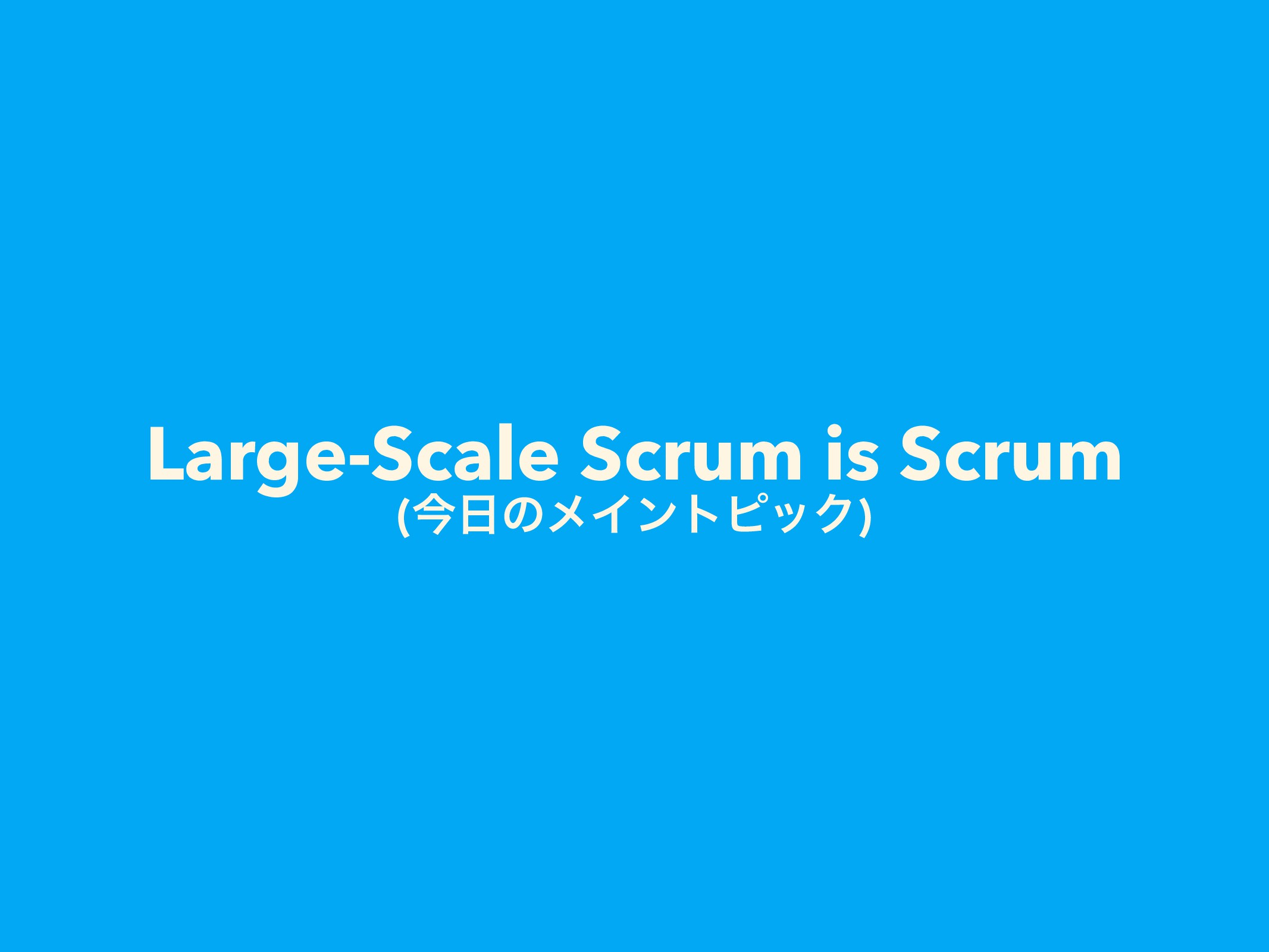 Large-Scale Scrum is Scrum (ࠓͷϝΠϯτϐοΫ)