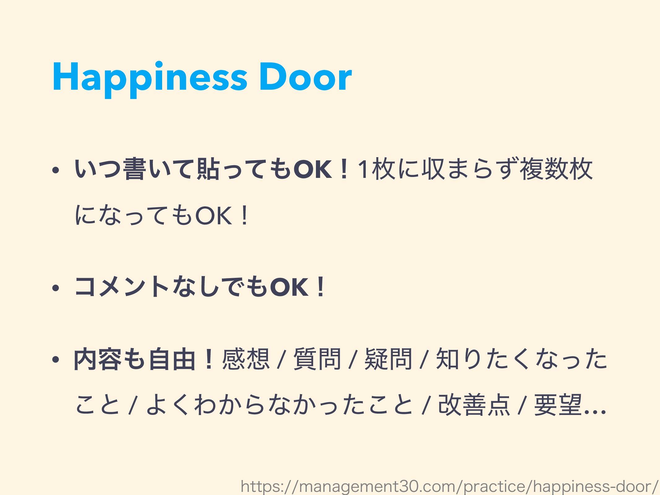 Happiness Door • ͍ͭॻ͍ͯషͬͯOKʂ1ຕʹऩ·Βͣෳຕ ʹͳͬͯOK...