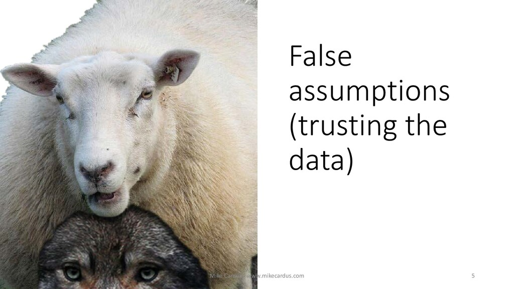 False assumptions (trusting the data) 5 Mike Ca...