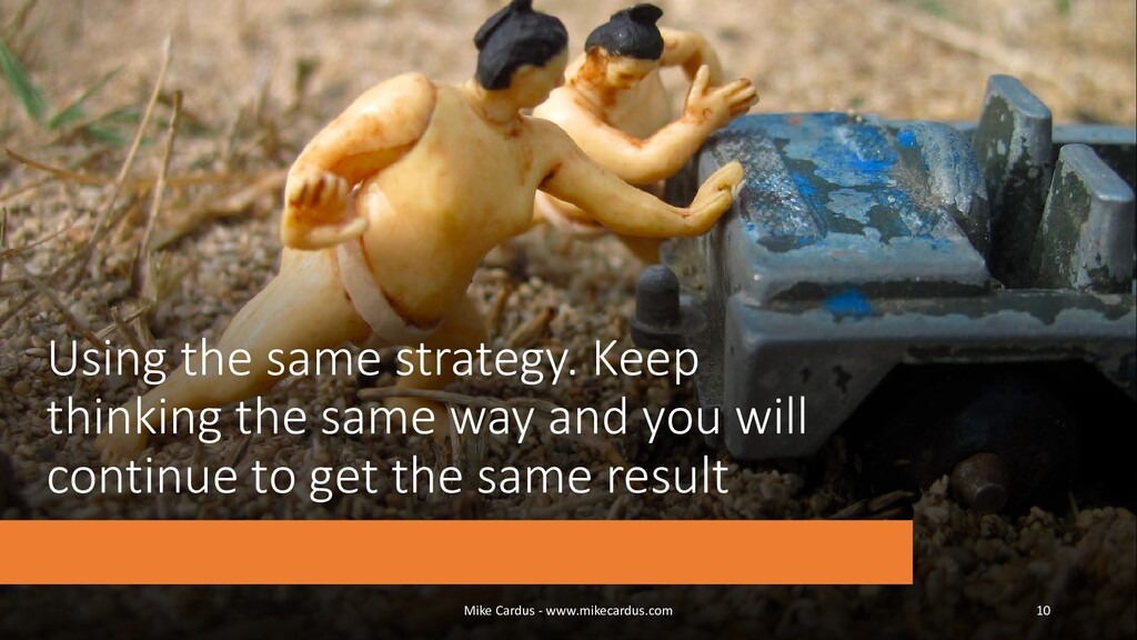 Using the same strategy. Keep thinking the same...