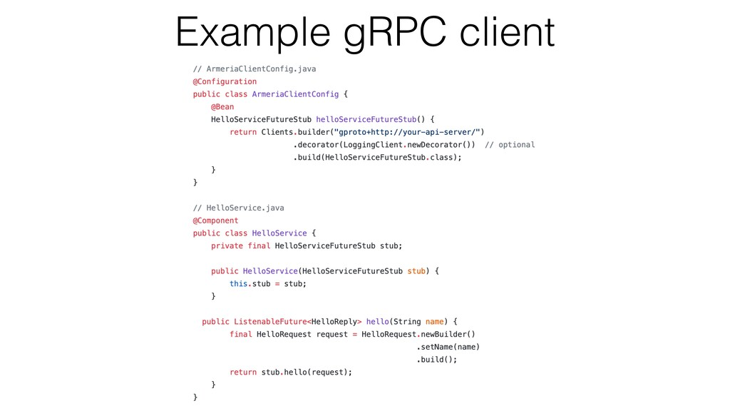 Example gRPC client