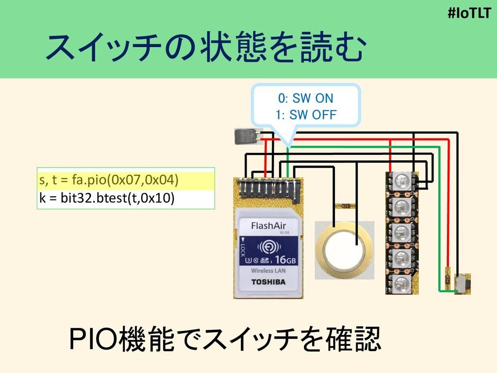 #IoTLT スイッチの状態を読む PIO機能でスイッチを確認 s, t = fa.pio(0...
