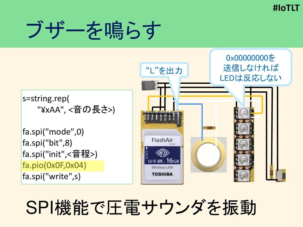 """#IoTLT ブザーを鳴らす SPI機能で圧電サウンダを振動 """"L""""を出力 s=string...."""