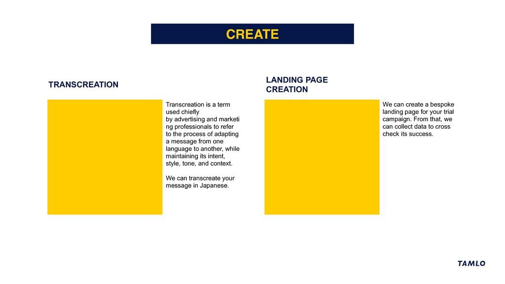 TRANSCREATION LANDING PAGE CREATION CREATE Tran...