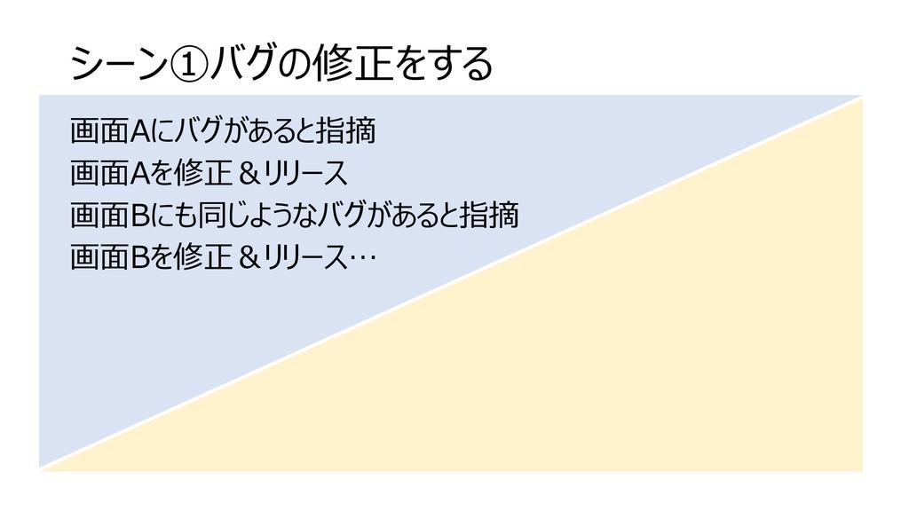 シーン①バグの修正をする 画面Aにバグがあると指摘 画面Aを修正&リリース 画面Bにも同じよう...