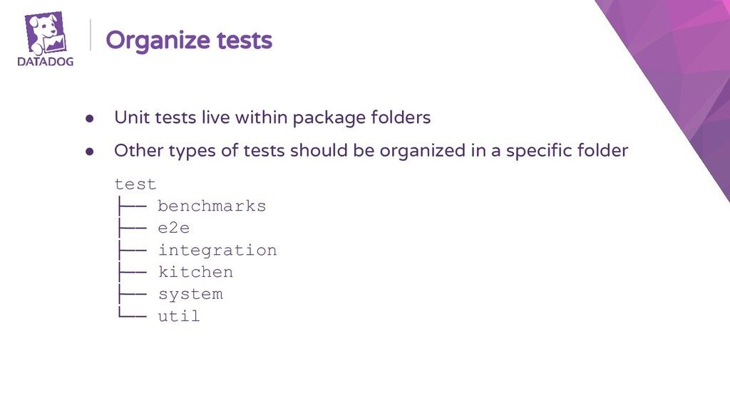 Organize tests ● Unit tests live within package...