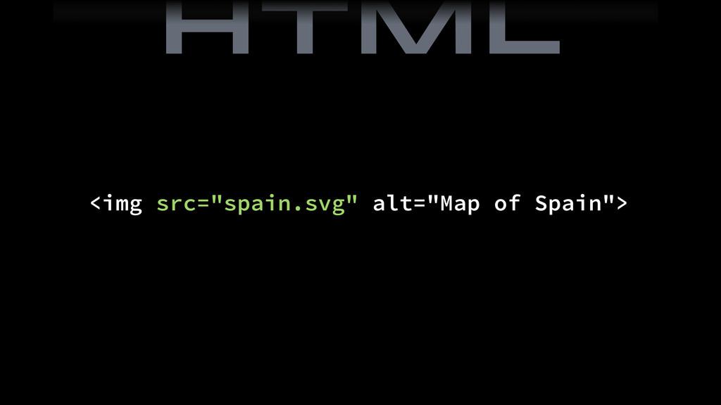 "<img src=""spain.svg"" alt=""Map of Spain""> HTML"