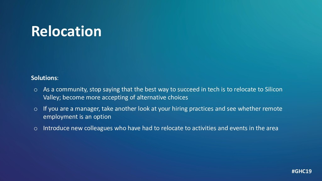 Relocation Solutions: o As a community, stop sa...