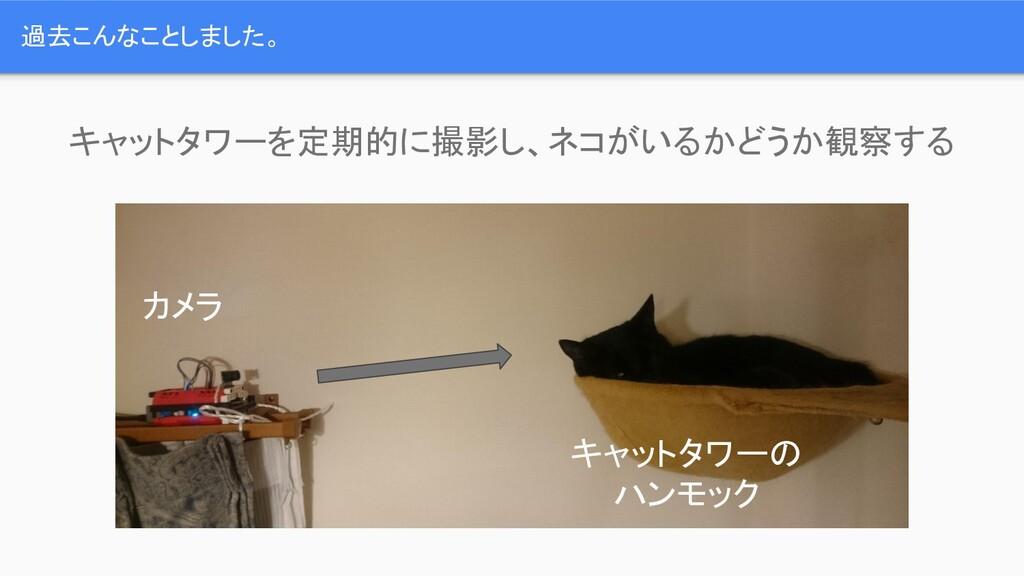 過去こんなことしました。 キャットタワーを定期的に撮影し、ネコがいるかどうか観察する カメラ ...