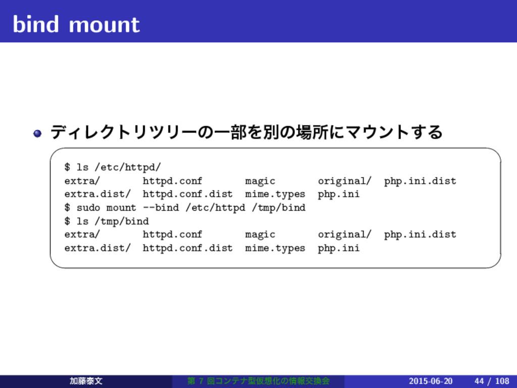 bind mount σΟϨΫτϦπϦʔͷҰ෦ΛผͷॴʹϚϯτ͢Δ   $ ls /e...