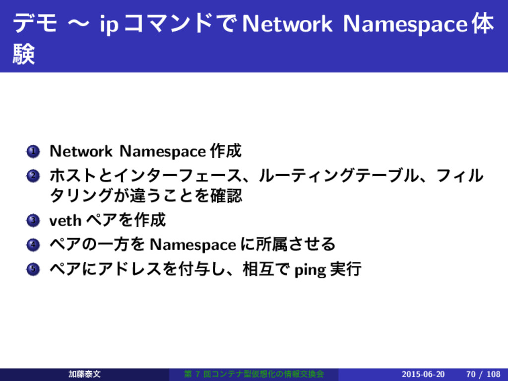 σϞ ʙ ipίϚϯυͰNetwork Namespaceମ ݧ 1 Network Name...
