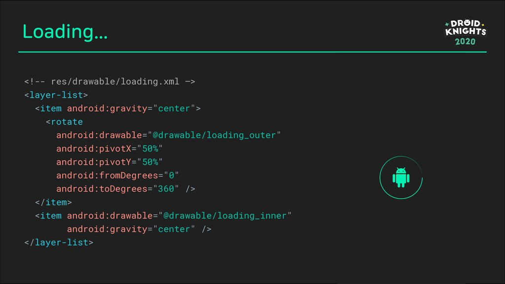 Loading... <!-- res/drawable/loading.xml —> <la...