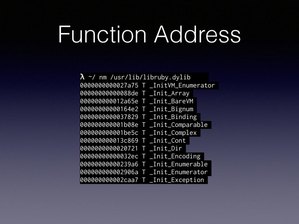 Function Address λ ~/ nm /usr/lib/libruby.dylib...