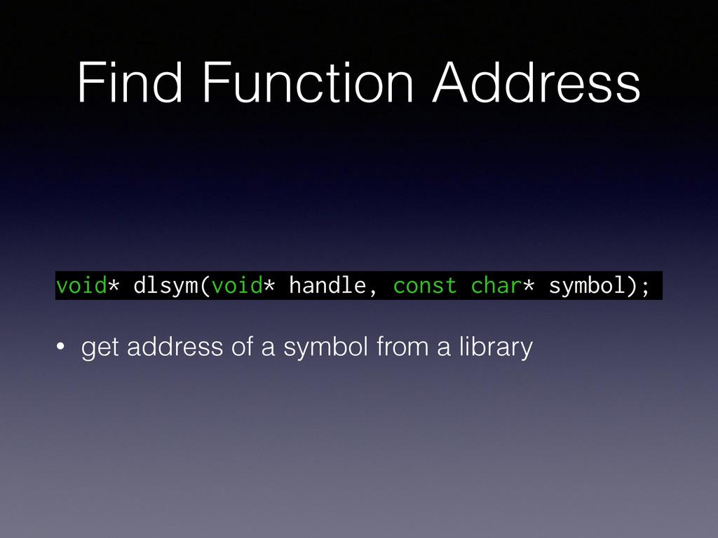 Find Function Address void* dlsym(void* handle,...