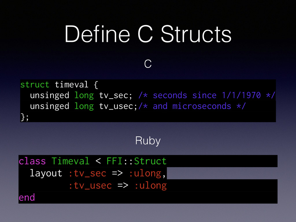 Define C Structs class Timeval < FFI::Struct lay...