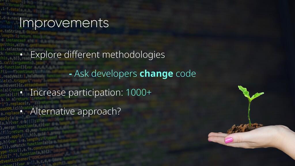 Improvements • Explore different methodologies ...