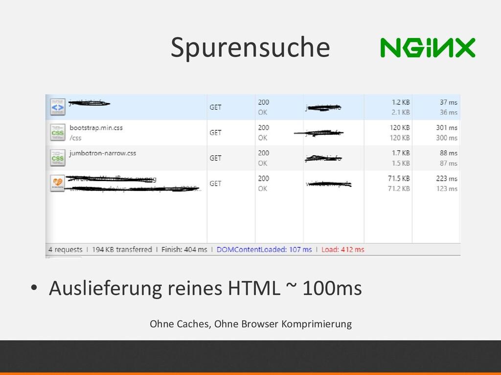 Spurensuche • Auslieferung reines HTML ~ 100ms ...