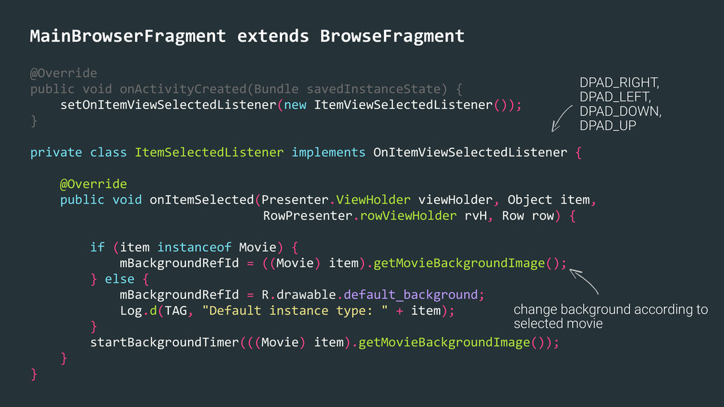 MainBrowserFragment extends BrowseFragmen...