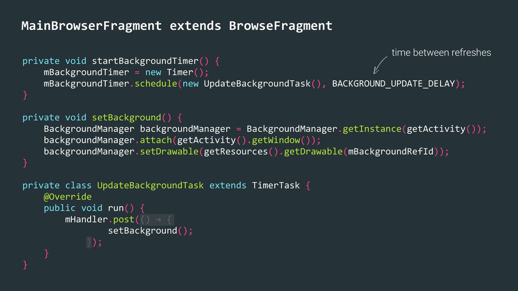 time between refreshes MainBrowserFragment e...