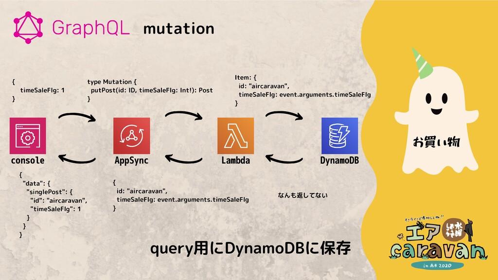 mutation お買い物 {   timeSaleFlg: 1 } type Mutatio...