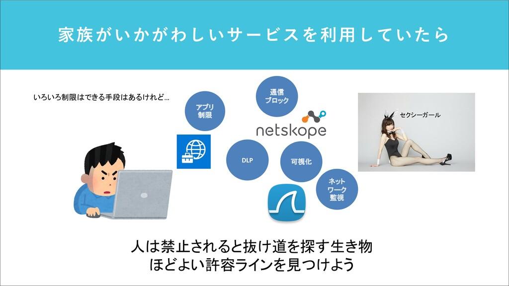 家族がいかがわしいサービスを利⽤していたら 可視化 アプリ 制限 DLP 通信 ブロック ネッ...
