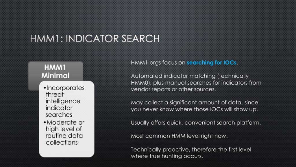 HMM1 Minimal •Incorporates threat intelligence ...