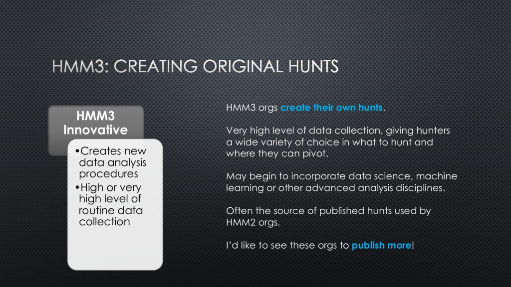 HMM3 Innovative •Creates new data analysis proc...