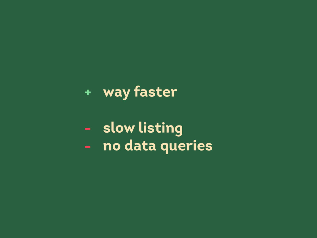 way faster slow listing no data queries + - -