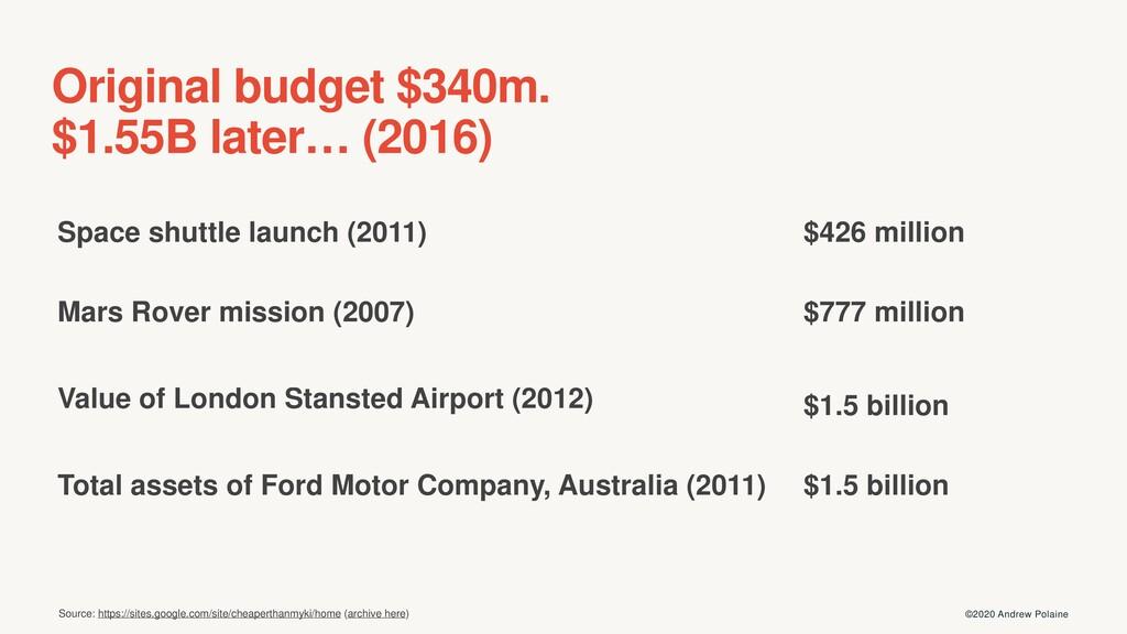 ©2020 Andrew Polaine Original budget $340m. $1....
