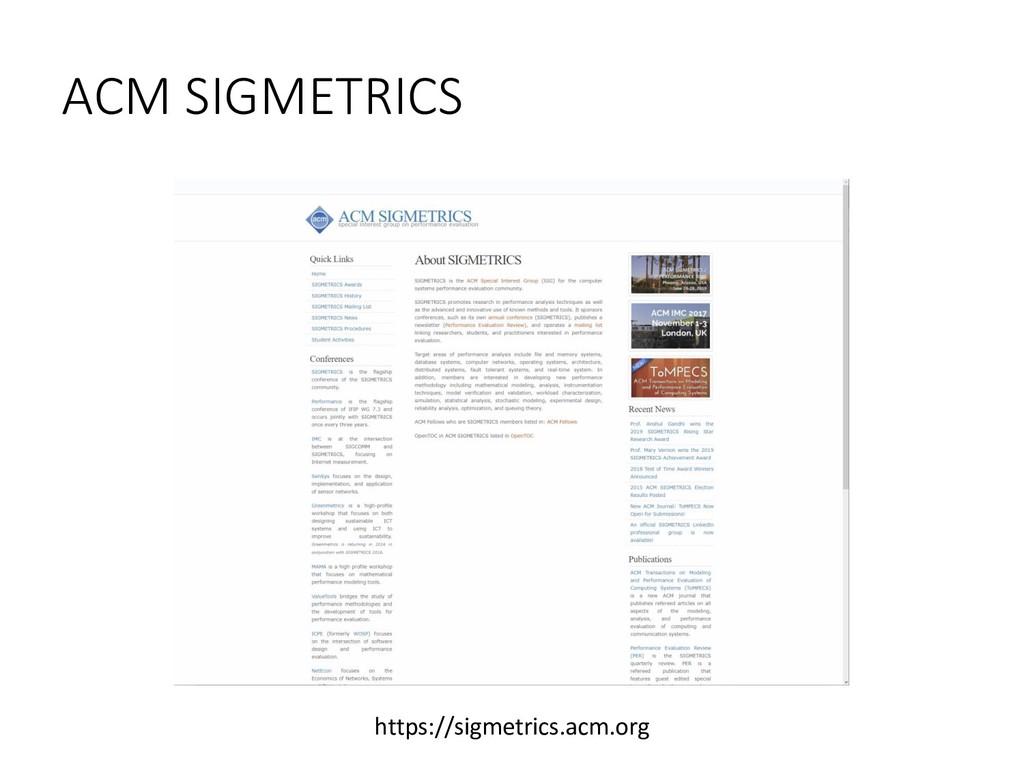 ACM SIGMETRICS https://sigmetrics.acm.org
