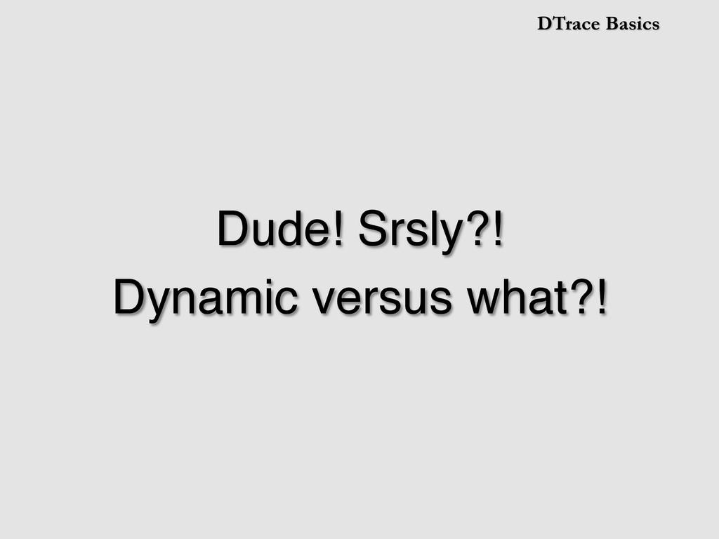 DTrace Basics Dude! Srsly?!! Dynamic versus wha...
