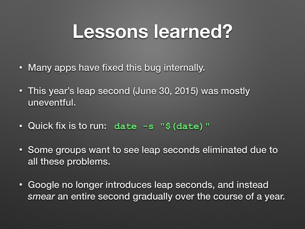 Lessons learned? • Many apps have fixed this bug...