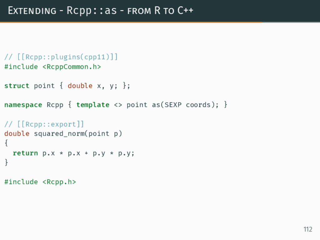 Extending - Rcpp::as - from R to C++ // [[Rcpp:...