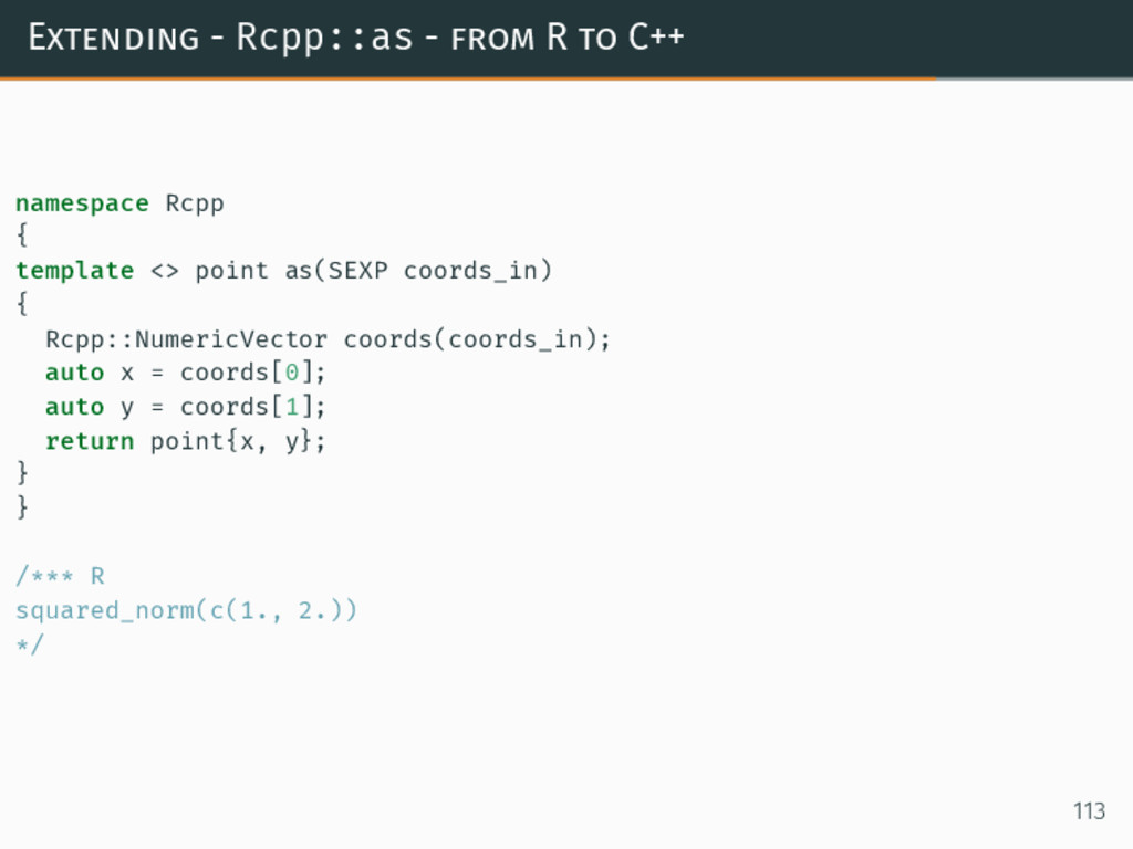 Extending - Rcpp::as - from R to C++ namespace ...