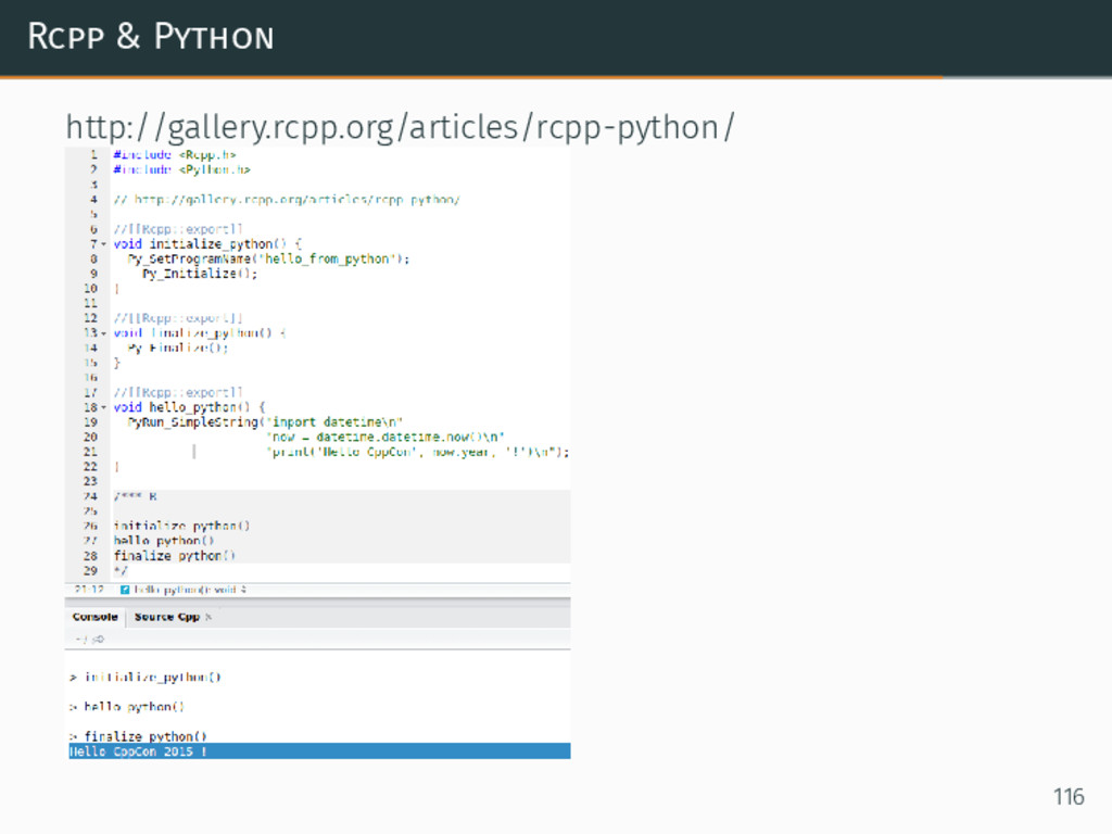 Rcpp & Python http://gallery.rcpp.org/articles/...