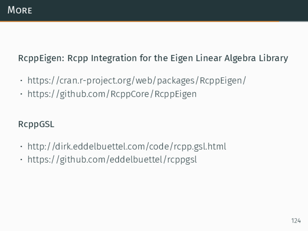 More RcppEigen: Rcpp Integration for the Eigen ...