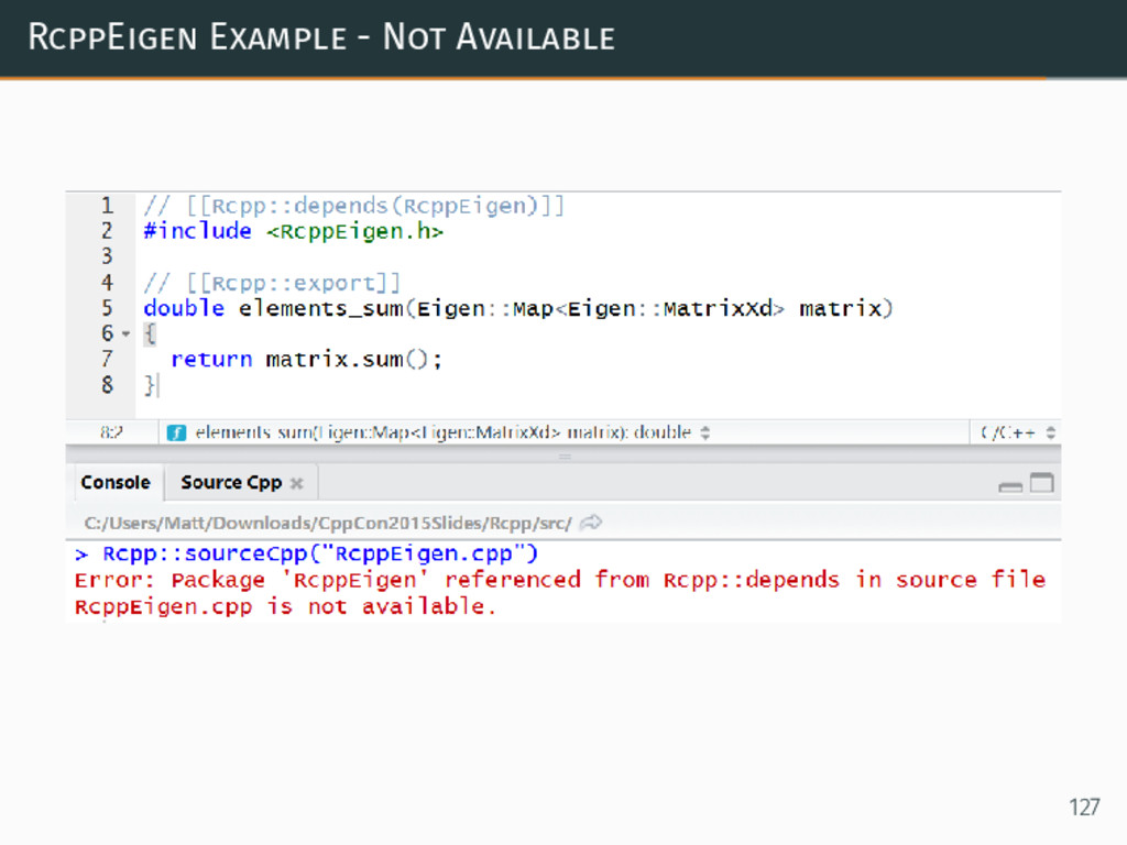 RcppEigen Example - Not Available 127