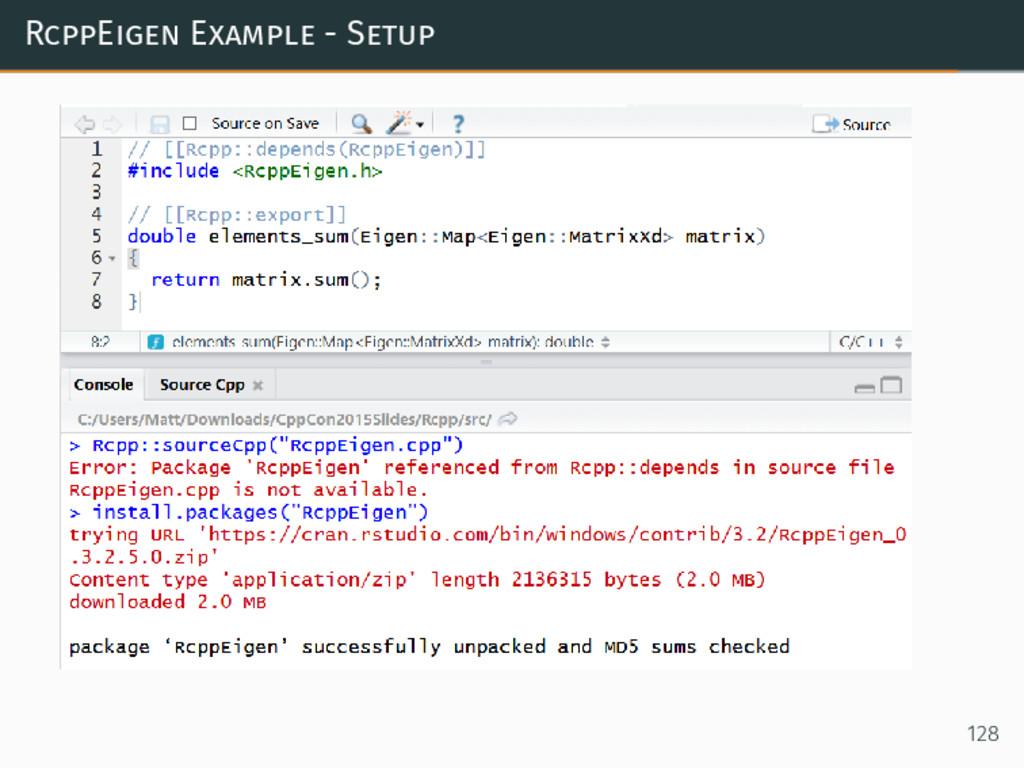 RcppEigen Example - Setup 128